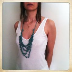 Marine blue crochet necklace by blancaperse on Etsy, $38.00