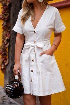 33474f82192 White sleeveless button-up midi dress with pockets and empire waist. White  dress. Midi dress. Button-up dress. Dres…