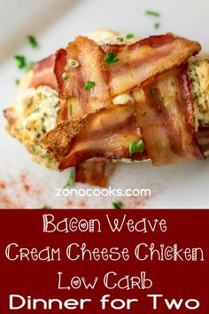 Bacon Weave Cream Cheese Chicken is so easy with only 4 ingredients. The flavors of cream cheese, chives, chicken and bacon are excellent together. This is the perfect dinner, lunch, or date night recipe for two. Single Serve Meals, Single Serving Recipes, Steak Dinners For Two, Meals For Two, Night Dinner Recipes, Instant Pot Dinner Recipes, Batch Cooking, Cooking Recipes, Bacon Weave