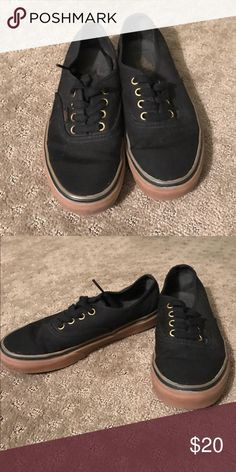 Black vans with gum soles Cute black vans with gum soles and gold eyelets. Maybe worn 3 times. Have just been sitting in my closet Vans Shoes