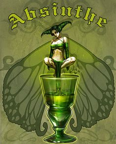 """""""The green fairy who lives in the absinthe wants your soul, but you are safe with me"""". Vintage Advertisements, Vintage Ads, Vintage Posters, Art And Illustration, Green Fairy Absinthe, Art Nouveau, Etiquette Vintage, Fairies Photos, Retro Poster"""