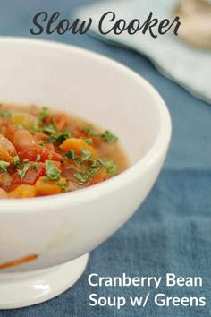 I love a simple crockpot meal and this Italian Slow Cooker Cranberry Bean Soup is a really good one. You can use any dry bean you have on hand (except for kidney beans) in place of the cranberry beans, though I recommend using pinto or cannellini beans. Vegan Slow Cooker, Slow Cooker Recipes, Crockpot Recipes, Soup Recipes, Cooking Recipes, Dip Crockpot, Slow Cooking, Cranberry Beans, Delicious Vegan Recipes