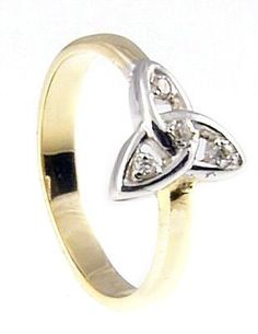 10K/14K/18K Two Tone Gold Diamond Engagement Celtic Knot Ring  (With the Diamond IN the Knot!!)