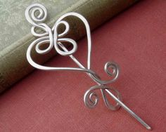 Celtic Heart and Swirls Sterling Silver Shawl Pin / Scarf Pin / Brooch. , via Etsy.