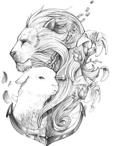 Draw Lions Lion and the Lamb with an Anchor. I would change the face of the Lion a little bit. Jesus Tattoo, Christian Symbols, Christian Art, Lamm Tattoo, Logo Lion, Lion And Lamb, Christian Tattoos, Christian Drawings, Trendy Tattoos