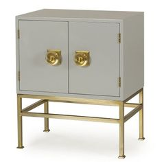 Putty lacquer 2 door nightstand with brass legs  Materials: lacquer 2 door…