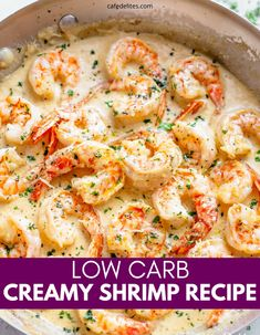 Low Carb Garlic Shrimp is a fantastic seafood recipe to make when you get a craving. Creamy sauce, savory shrimp, all in one easy skillet dinner. Pair with some cauliflower rice, veggies or other side dish of your choice. #Lowcarb #creamy #garlic #shrimp #skillet #best #easy #seafood Creamy Garlic Shrimp Recipe, Shrimp Recipes Easy, Seafood Recipes, Cooking Recipes, Healthy Recipes, Creamy Sauce, Side Recipes, Unique Recipes, Dinner Recipes