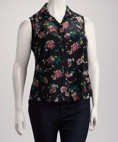 Take a look at this Black Plus-Size Sleeveless Button-Up by Jazzy Martini on #zulily today! $19.99, regular 44.00