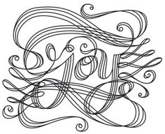 """""""Calligraphic Joy"""" Celebrate the Christmas season with the word """"Joy"""" in Victorian-style calligraphy! Downloads as a PDF. Use pattern transfer paper to trace design for hand-stitching. - UTH7101 (Hand Embroidery) FB-121713-1036-4"""