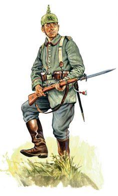 Niemiecki szeregowy piechoty 55. Pułku Wesfalskiego uzbrojony w karabin Mauser wz. 1898 z bagnetem S98