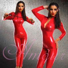 Red Wetlook Shinny Goth Punk Faux Leather Catsuit Bodysuit Romper Zipper @Samantha p