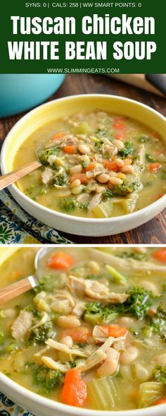 Dig into a hearty bowl of Syn Free Tuscan Chicken and White Bean Soup - a delicious, healthy and flavoursome soup that is perfect any time of year. Gluten Free, Dairy Free, Slimming World and Weight Watchers friendly. Bean Soup Recipes, Chicken Soup Recipes, Healthy Soup Recipes, Ww Recipes, Paleo Soup, Beans Recipes, Chicken Chili, Free Recipes, Hearty Chicken Soup