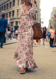 Multicolor Bohemian Floral Print Ruffle Deep V-neck Floor Length Boho Maxi Dress - Maxi Dresses - Dresses Vacation Dresses, Day Dresses, Casual Dresses, Fashion Dresses, Summer Dresses, Cute Dresses, Vacation Wear, Vacation Style, Long Sleeve Maxi