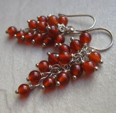 Festive carnelian stone earrings, handmade by Bethany Rose Designs. See more handcrafted jewelry at www.BethanyRoseDesigns.etsy.com