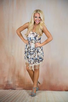 Pink Coconut Boutique | More Flower To You Dress - Tan