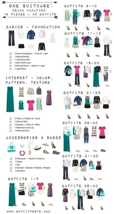 one suitcase: beach vacation/summer wardrobe: 16 pieces, 40 outfits, missing 2 swimming outfits
