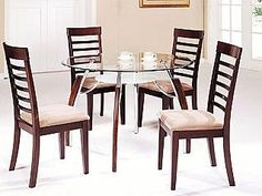 Acme Furniture Glass Top Dining Table 5 piece 08185 set