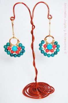Zarcillos frida turquesa y naranja #earrings  Código: Zar-0005
