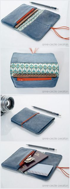 blue leather wallet, 100% handcrafted in France. Only 38€.