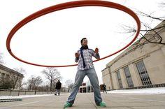 Huge 6ft hoop on a campus in St. Louis.