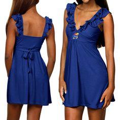 Kansas Jayhawks Ladies Royal Blue Rhinestone Drop Waist Dress