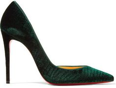 #affiliatead -- Christian Louboutin - Iriza 100 Croc-effect Velvet Pumps - Emerald -- #chic only #glamour always