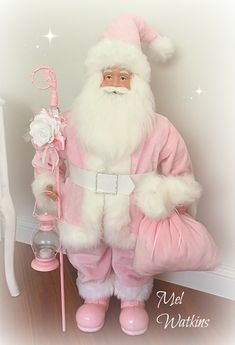 Huge Santa made over in pink ♥ – Laundry Room İdeas 2020 Shabby Chic Christmas, Pink Christmas, All Things Christmas, Vintage Christmas, Beautiful Christmas, Christmas 2019, Pink Love, Pretty In Pink, Pink Purple