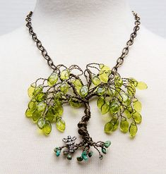 Green Tree of Life Necklace with glass leaves Green Willow