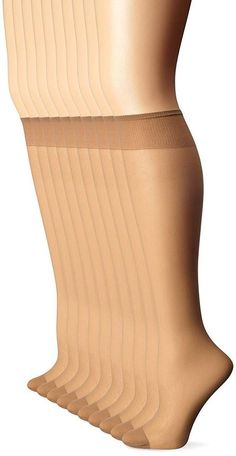 e67d7b8740ba23 10 Pair Legs Womens Everyday Reinforced Toe Knee Highs Nude 100% Nylon One  Size #