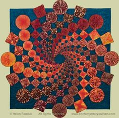 """Image of """"YoYo14 Circle and Square Dance"""" quilt by Helen Remick"""