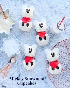 "Have ""Snow"" Much Fun Building These Mickey Snowman Cupcakes"