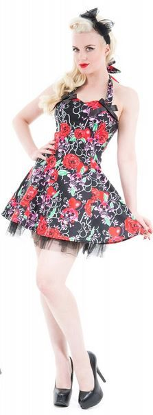 e0dc20dc68 Hearts & Roses London Pink Skull Red Rose Mini Dress - Suicide Glam  Australia