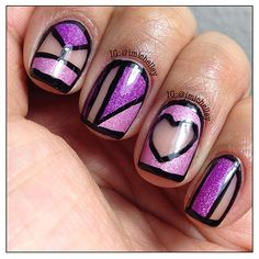 Loving this chic purple and pink iridescent cut out nail art, using a clear background for the negative space! So graphic and contemporary...