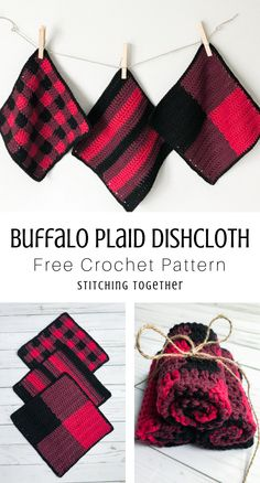 Make the trendiest buffalo plaid crochet dishcloth set with these 3 free patterns including a buffalo stripe and a buffalo check dishcloth. Plaid Crochet, Knit Or Crochet, Crochet Gifts, Free Crochet, Crochet Hot Pads, Crochet Towel, Crochet Potholders, Crochet Quilt, Crochet Dishcloths Free Patterns