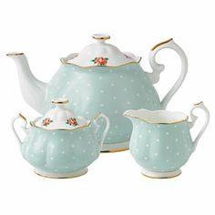 Royal Albert - Polka Rose 3 Piece Set- Teapot, Covered Sugar and Creamer $139.99