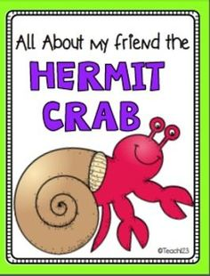 FREE Mini Book - A House for Hermit Crab, ocean unit, Eric Carle author study will be enriched with this free Hermit Crab Facts mini book. Students read facts about the hermit crabs and illustrate the story. There is also a colorful version of the story. Ocean Activities, Book Activities, Summer Activities, First Grade Teachers, Elementary Teacher, Reading Resources, Teacher Resources, Science Resources, Teaching Kindergarten