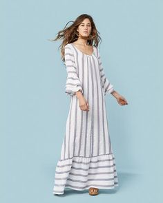 Give Spring a warm welcome with our inspired caftan-style Rowe Dress. Only 12 dresses were made in this vintage striped rayon. Black Midi Dress Bodycon, Christy Dawn Dress, White Boho Dress, Blue Dresses, Summer Dresses, Vintage Inspired Outfits, Complete Outfits, Jumpsuit Dress, Dress Collection