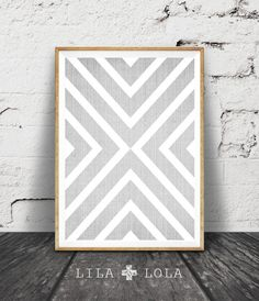 Geometric Print Grey and White Decor Cross Wall Art by LILAxLOLA