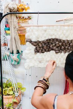 Beautiful woven tapestries by textile artist Natalie Miller... at work in her studio. Photo – Rachel Kara for The Design Files.