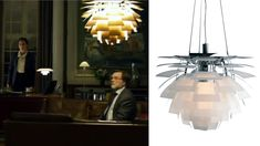 Poul Henningsen Artichoke glass pendant lamp for Louis Poulsen in Borgen (as featured in our interview with Skandium on furniture in films and Scandinavian design) Furniture Logo, Furniture Decor, Interior Inspiration, Design Inspiration, Light Film, Image Makers, Site Design, Danish Design, James Bond