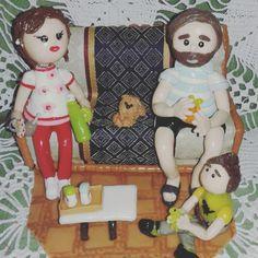 Familia de martin y ro hecha en porcelana fria!!