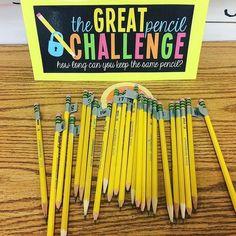 Classroom management idea-The great pencil challenge - Bildung Classroom Hacks, Classroom Procedures, 5th Grade Classroom, Classroom Behavior, New Classroom, Classroom Activities, Classroom Organization, Classroom Management, Classroom Incentives