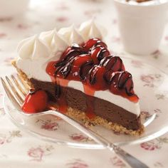 Black Forest Freezer Pie Recipe -A delightful dessert is never far off when you have this layered ice cream pie in the freezer. For variety, I sometimes use strawberry pie filling and a chocolate crust. —Angie Helms, Pontotoc, Mississippi