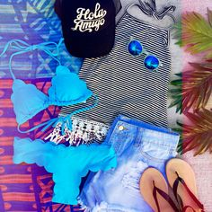 Ready for spring break! ☀️ Scallop Bikini Halter ($18.99 #4thandocean) Scallop Cheeky Bikini Bottoms ($18.99 #4thandocean) Crochet Fringe Stripe Halter Black ($14.99 #4thandocean) Light Distressed Shorts ($24.99 #4thandocean) Hat ($17.95 *in store #4thandocean) Sandals ($19.99 *in store #statements) Stores are open tomorrow from 10-8p! Come shop with us or check out what's new online at sophieandtrey.com with F R E E shipping on all orders! XO #sophieandtrey #springbreak #bikini #womenswear…