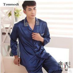 Luxury Pajamas for men Autumn Silk Satin Sleepwear Male Sleep Blue Pyjamas Cardigans Men's Sleep Lounge Silk Pajama Sets 3XL