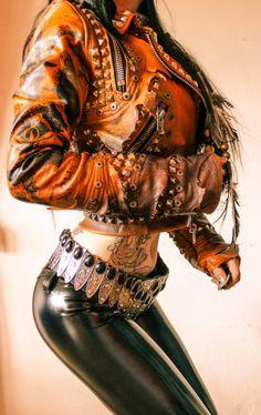 Image of TOXIC VISION Baphomet brown leather warrior jacket