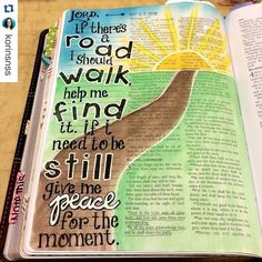 #Repost @korinsnss with @repostapp. So it's 5 in the morning and I am STILL up. This is certainly not the norm for me but I'm enjoying a crop this weekend where I am Bible journaling and this is the page I completed earlier. This song by Sidewalk Prophets is one of my faves right now...especially because we are currently asking for the Lord to show us the path He wants us to take. Tonight on my way to the crop I got some news in regards to a possible path and this song was playing. I knew I…