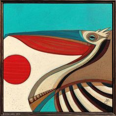 """""""Pelicano 3"""" © Erik Abel 2015  25.5x25.5  Acrylic, marker, colored pencil on wood. Frame: Reclaimed Wood<br>Inquire for pricing"""