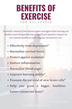 Scientific research has shown again and again that exercising and moving our bodies more frequently has a significant positive impact on our mental health as well physical health. Exercise And Mental Health, Positive Mental Health, Mental Health Advocate, Improve Mental Health, Benefits Of Exercise, Mental Health Awareness, Learning Ability, Anxiety Remedies, Anxiety Help