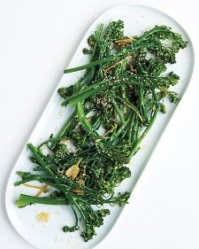 Broccolini with sesame & ginger! Use broccolini in place of broccoli or asparagus in recipes, saute it with garlic or ginger, or serve it on a crudites tray. This side dish goes well with broiled fish or roasted or sauteed chicken.